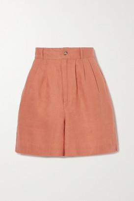 Reformation Bello Linen Shorts - Orange