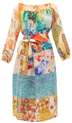 Rianna + Nina - Abstract Print Vintage Silk Midi Dress - Womens - Multi