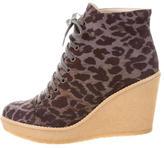 Stella McCartney Leopard Wedge Booties