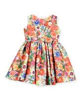 Helena Sleeveless Crinkled Floral Circle Dress, Coral, Size 7-12
