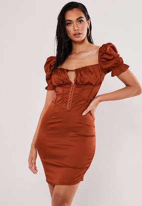 Missguided Petite Rust Satin Puff Sleeve Corset Dress