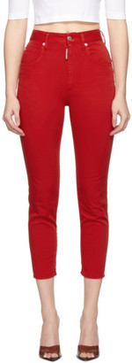 DSQUARED2 Red High Waist Cropped Twiggy Jeans