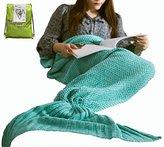 Hughapy Christmas Soft Mermaid Tail Blanket Handmade Living Room Sleeping Bag For Kids Adult (Adult, MInt Green)