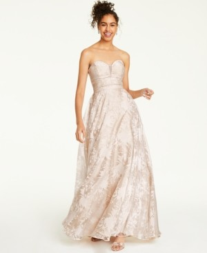 Say Yes to the Prom Juniors' Embellished Floral Burnout Strapless Gown, Created for Macy's