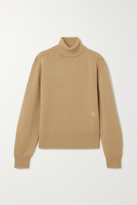 Chloé Embroidered Cashmere Turtleneck Sweater - Brown