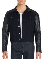 The Kooples Button Front Leather Blend Jacket