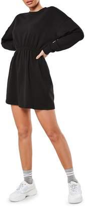 Missguided Ruched-Waist Mini Sweatshirt Dress