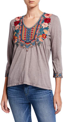 Johnny Was Plus Size Tia Embroidered 3/4-Sleeve Deep Scoop-Neck T-Shirt