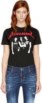 DSQUARED2 Black Twisted Metal Band Logo T-shirt