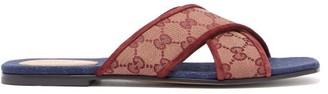 Gucci Senior Gg-canvas Slides - Womens - Burgundy Navy