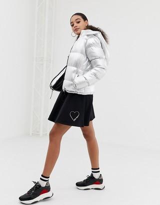 Love Moschino glitter stamp skater skirt-Black
