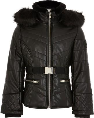 River Island Girls Black padded belted jacket
