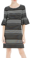 Max Studio Bell Sleeve Stripe Dress, Black/Cream