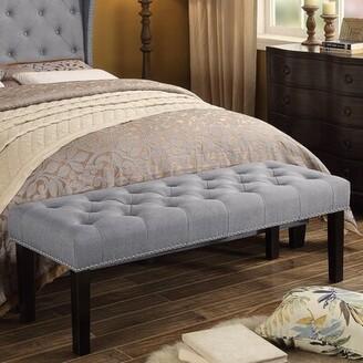 "Three Posts Almaraz Upholstered Bench Size: 18"" H x 56"" W x 20"" D, Upholstery: Linen Gray"