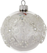 Christmas Shop 8CM BAUBLE GLASS FLORAL GLITTER SILVER