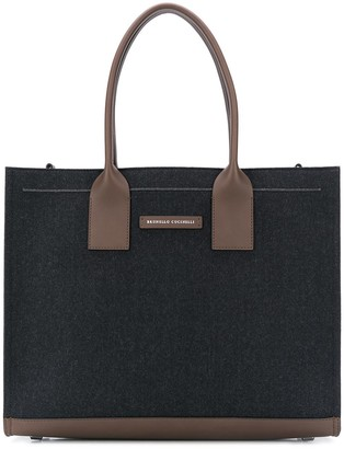 Brunello Cucinelli Logo Patch Zipped Tote