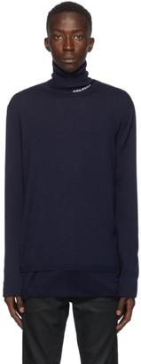 Balmain Navy Wool Logo Turtleneck