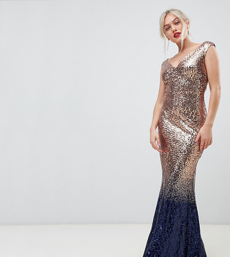 City Goddess Petite ombre sequin embellished maxi dress-Gold