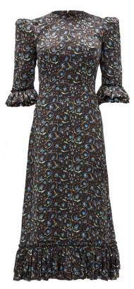 The Vampire's Wife Falconetti Liberty-print Silk Midi Dress - Womens - Black Blue