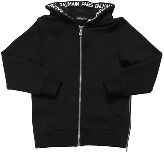 Balmain Zip-up Cotton Sweatshirt Hoodie
