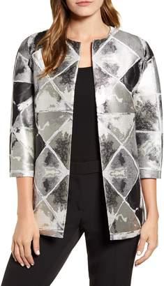 Anne Klein Metallic Diamond Pattern Collarless Jacket