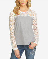 CeCe Long-Sleeve Lace-Contrast Top