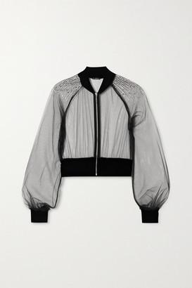 I.D. Sarrieri Cropped Velvet-trimmed Swarovski Crystal-embellished Tulle Bomber Jacket - Black