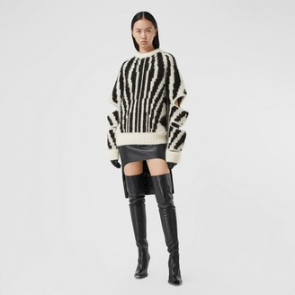 Burberry Cut-out Sleeve Wool Mohair Blend Jacquard Sweater
