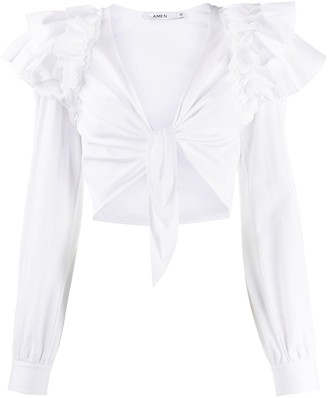 Amen Ruffled Tie-Front Cropped Blouse