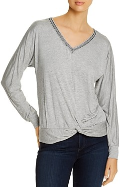 Design History Beaded Trim Dolman-Sleeve Top