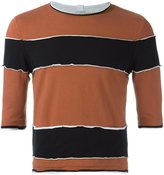 Telfar raw edge striped T-shirt - men - Cotton - S