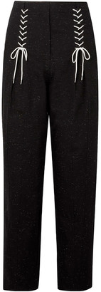 Tibi Lace-up Cotton-blend Tapered Pants
