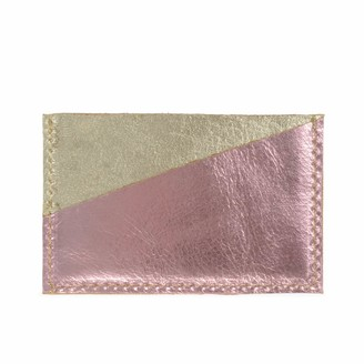 Diagonal Gold and Pink Leather Card Holder