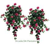 """Bougainvillea TWO 36"""" Artificial Hanging Flower Bushes, with No Pot,"""