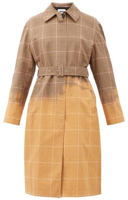 MSGM Faded Checked Single-breasted Cotton Trench Coat - Beige Multi