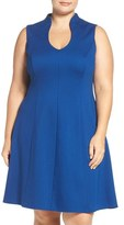Adrianna Papell Sleeveless Ponte Fit & Flare Dress (Plus Size)