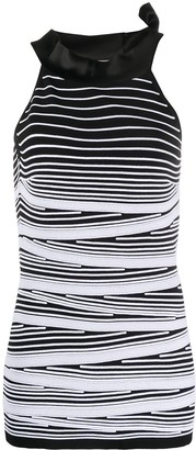 D-Exterior Striped Sleeveless Knitted Top