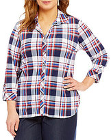 Peter Nygard Plus Point Callar Plaid Knit Chiffon Shirt