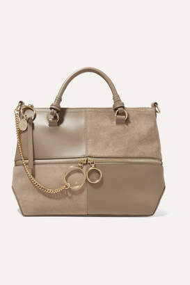 See by Chloe Emy Leather And Suede Shoulder Bag - Gray