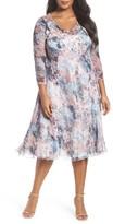 Komarov Plus Size Women's Mixed Media Midi Dress