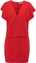 Halston Wrap-effect stretch-crepe mini dress
