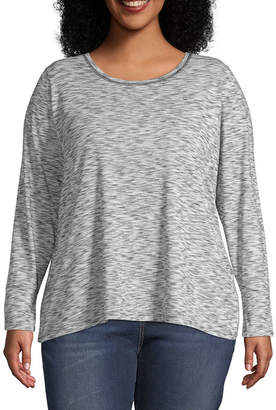A.N.A Womens Round Neck Long Sleeve T-Shirt - Plus