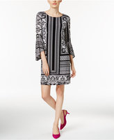 INC International Concepts Petite Printed Bell-Sleeve Shift Dress, Only At Macy's