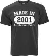 Tedim Made in 2001 All Original Parts (Distressed Design) 16th Birthday Sixteenth [2017 Edition] Mens T-Shirt Cool Funny Gift Present For Men