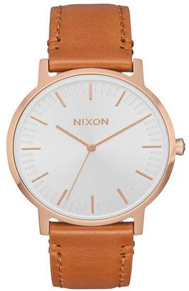 Nixon Men's Porter Leather Strap Watch, 40mm