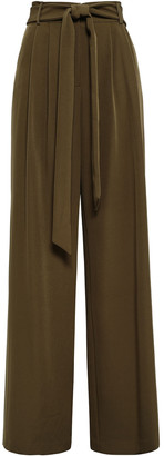 Milly Belted Crepe Wide-leg Pants