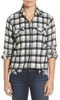 Current/Elliott Women's Perfect Frayed Hem Plaid Shirt