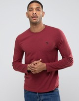 Abercrombie & Fitch Long Sleeve Top Muscle Slim Fit Moose Embroidery In Burgundy