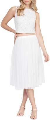 Beaded Top Mesh Skirt 2-Piece Dress
