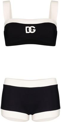 Dolce & Gabbana Two Tone Logo Bikini